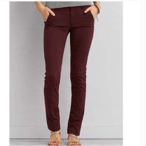 American Eagle Burgundy Red Skinny Super Stretch High Waisted Jeggings Size 12